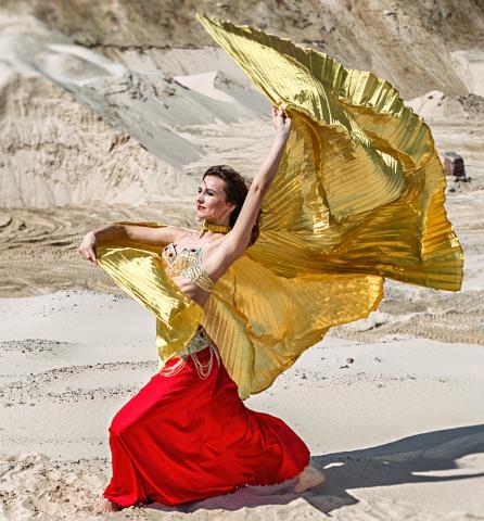 Šokių šou programa vestuvėms: rytietiškas šokis su sparnais
